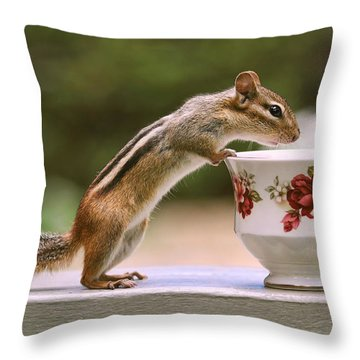 Tea Time With Chipmunk Throw Pillow