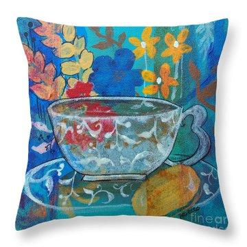 Throw Pillow featuring the painting Tea With Biscuit by Robin Maria Pedrero