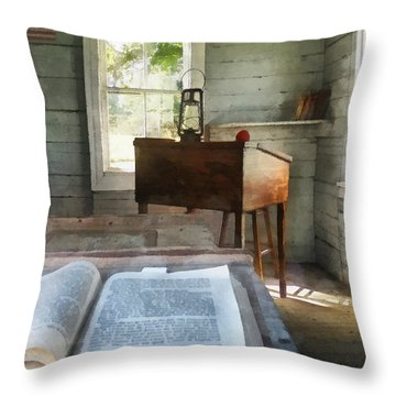 Teacher - One Room Schoolhouse With Book Throw Pillow by Susan Savad