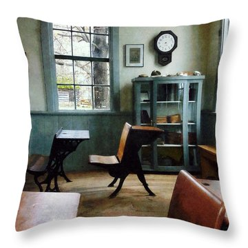 Teacher - One Room Schoolhouse With Clock Throw Pillow