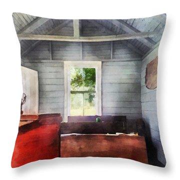 Teacher - One Room Schoolhouse With Hurricane Lamp Throw Pillow by Susan Savad