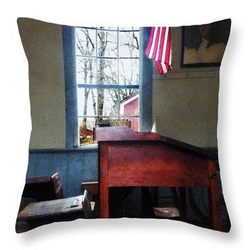 Teacher - Schoolmaster's Desk Throw Pillow by Susan Savad