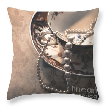 Teacup And Pearls Throw Pillow by Jan Bickerton