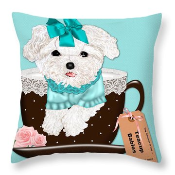 Teacup Baby Maltese Throw Pillow by Margaret Newcomb