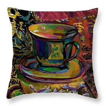 Throw Pillow featuring the digital art Teacup Study 1 by Clyde Semler
