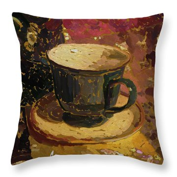 Throw Pillow featuring the digital art Teacup Study 2 by Clyde Semler