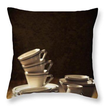 Teacups Throw Pillow by Amanda Elwell