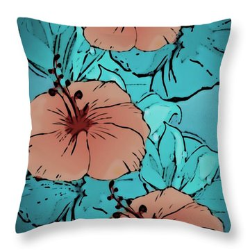 Throw Pillow featuring the digital art Teal And Brown Floral by Gayle Price Thomas
