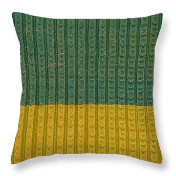 Teal And Mustard Throw Pillow by Michelle Calkins