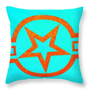 Teal And Rust Fighter Star Throw Pillow by Holly Blunkall
