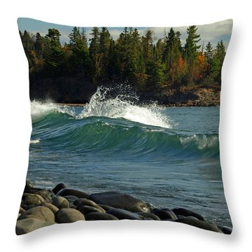 Teal Blue Waves Throw Pillow