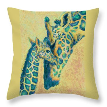 Teal Giraffes Throw Pillow by Jane Schnetlage