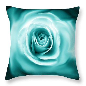 Teal Rose Flower Abstract Throw Pillow by Jennie Marie Schell