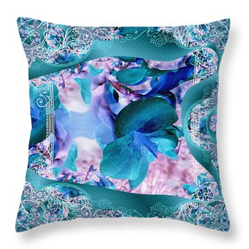 Teal Turquois Flower Throw Pillow