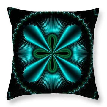 Teal Wheel Mandelbrot Throw Pillow by Faye Symons