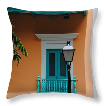 Teal With Pale Orange Throw Pillow