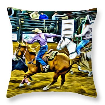 Team Ropers Throw Pillow by Alice Gipson