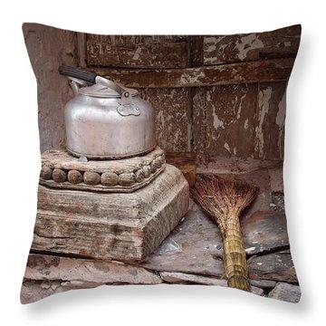 Teapot And Broom Throw Pillow