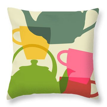 Teapot And Teacups Throw Pillow