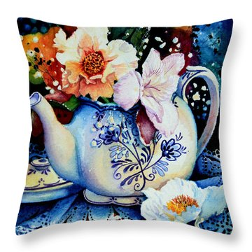 Teapot Posies And Lace Throw Pillow by Hanne Lore Koehler