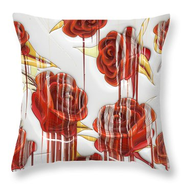 Throw Pillow featuring the digital art Tear-stained Roses by Liane Wright