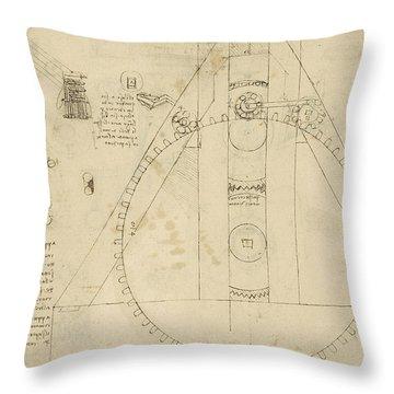 Teaseling Machine From Atlantic Codex Throw Pillow by Leonardo Da Vinci