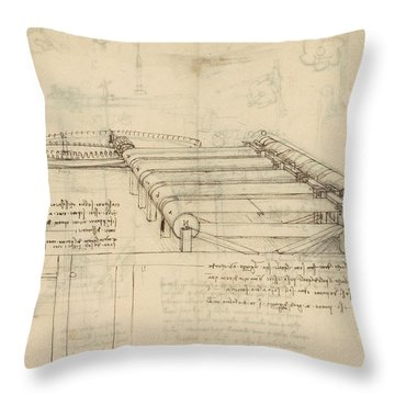Teaselling Machine To Manufacture Plush Fabric From Atlantic Codex  Throw Pillow by Leonardo Da Vinci