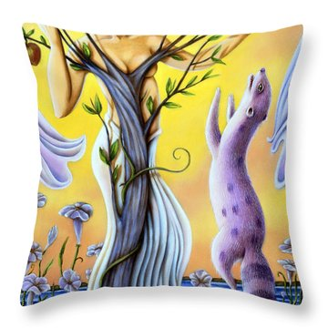 Teasing The Weasel Throw Pillow