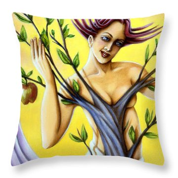 Throw Pillow featuring the painting Teasing The Weasel by Valerie White