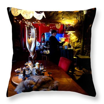 Throw Pillow featuring the photograph Teatime In The Lodge by Susanne Still