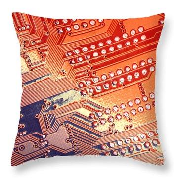 Tech Abstract Throw Pillow by Tony Cordoza