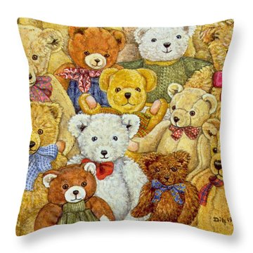 Ted Patch Throw Pillow by Ditz