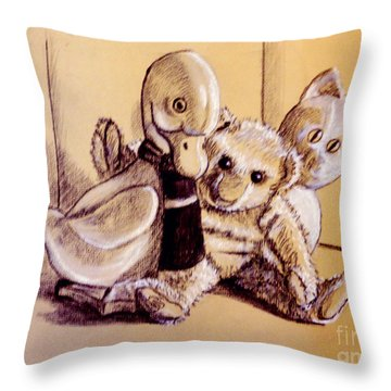 Teddy And His Buddies Throw Pillow