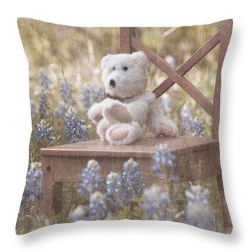 Teddy Bear And Texas Bluebonnets Throw Pillow