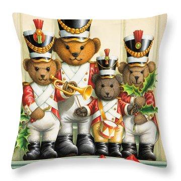 Teddy Bear Band Throw Pillow