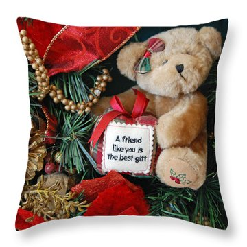 Teddy Bear Friends Throw Pillow by Kenny Francis