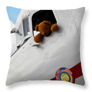 Throw Pillow featuring the photograph Teddy Bear Pilot by Bob Pardue