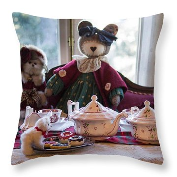 Teddy Bear Tea Party Throw Pillow by Patricia Babbitt