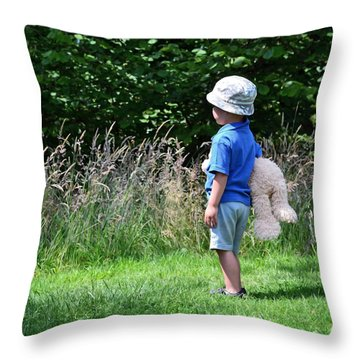 Teddy Bear Walk Throw Pillow by Keith Armstrong