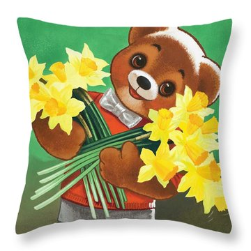 Teddy Bear Throw Pillow by William Francis Phillipps