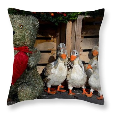 Teddy Bear With Flock Of Stuffed Ducks Throw Pillow by Imran Ahmed
