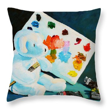 Throw Pillow featuring the painting Teddy Behr The Painter #1 by Dan Redmon