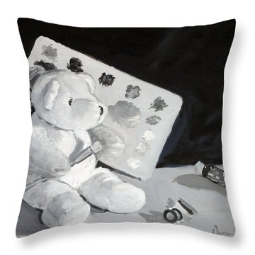Throw Pillow featuring the painting Teddy Behr The Painter #2 by Dan Redmon