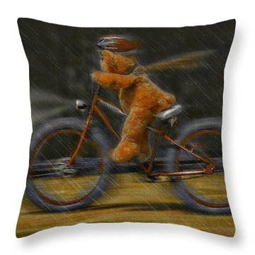 Teddy Going Hard 01 Throw Pillow by Kevin Chippindall