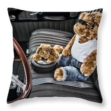 Teddy In A Chevy Throw Pillow by Ron Roberts