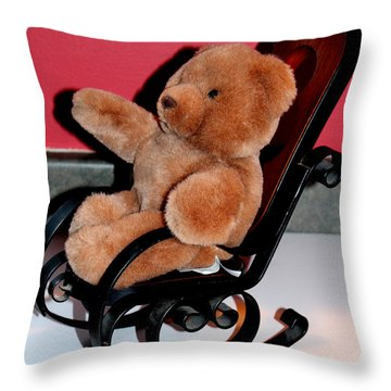 Teddy's Chair - Toy - Children Throw Pillow by Barbara Griffin