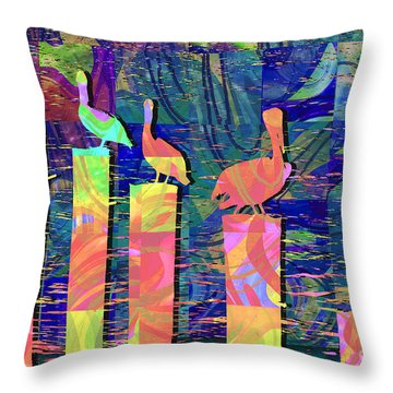 Tee Many Martoonies Throw Pillow by Ginny Schmidt