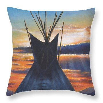 Teepee At Sunset Part 1 Throw Pillow