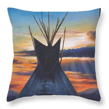 Teepee At Sunset Part 1 Throw Pillow