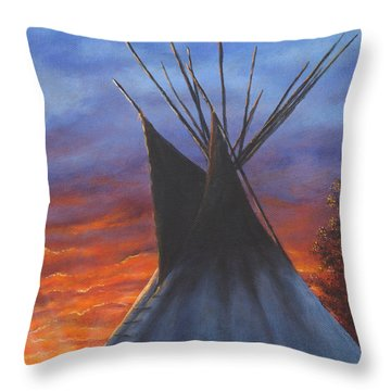 Teepee At Sunset Part 2 Throw Pillow